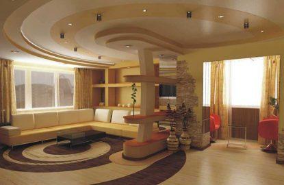 Натяжные потолки в гостиной рисунок 25