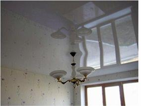 Готовое решение Глянцевый потолок в гостиную