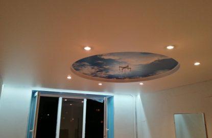 Двухуровневые натяжные потолки с подсветкой рисунок 403