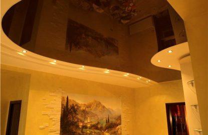Коричневые натяжные потолки рисунок 1201