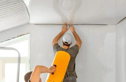 процесс установки натяжного потолка